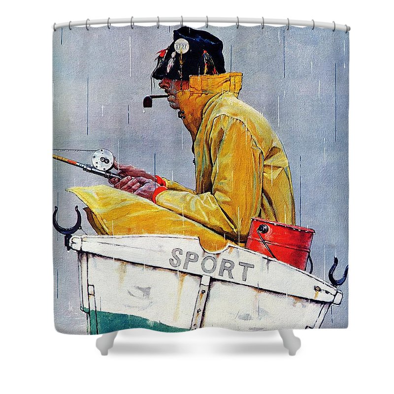 Fishing Shower Curtain featuring the drawing Sport by Norman Rockwell