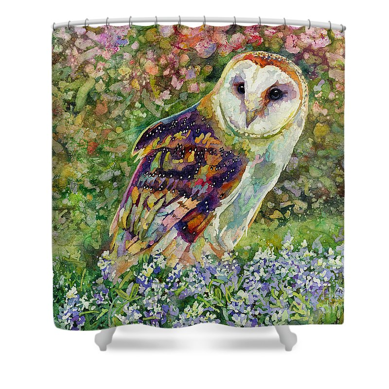 Owl Shower Curtain featuring the painting Spring Attraction by Hailey E Herrera