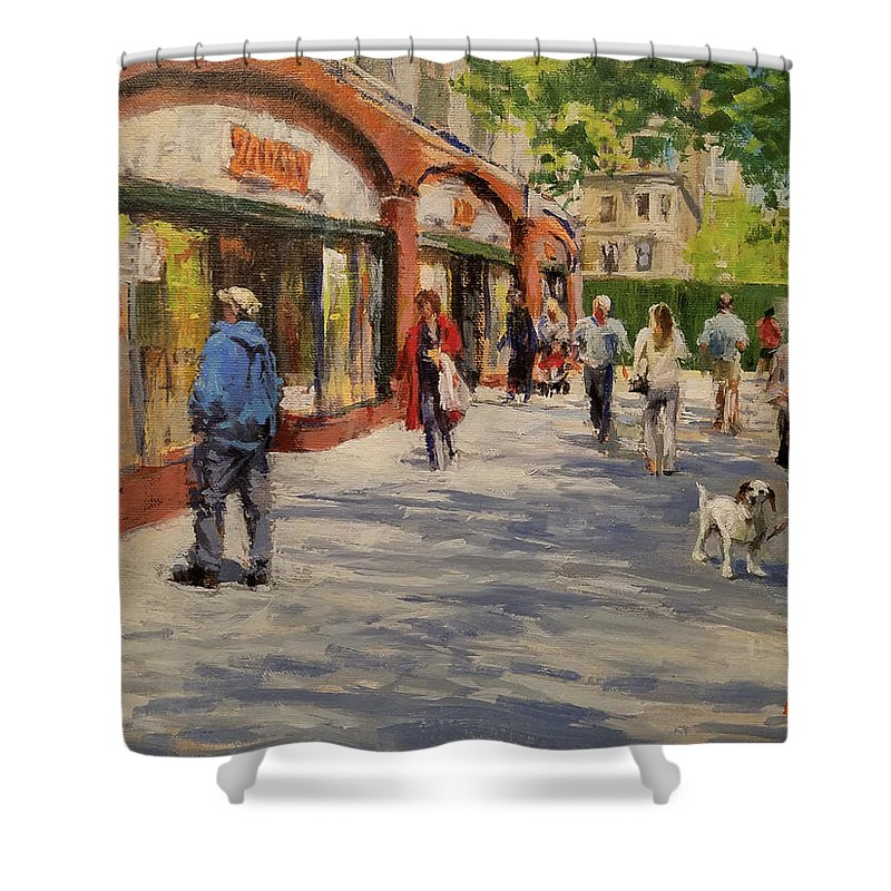 Urban Landscape Shower Curtain featuring the painting Spring Morning Near Zabar's by Peter Salwen