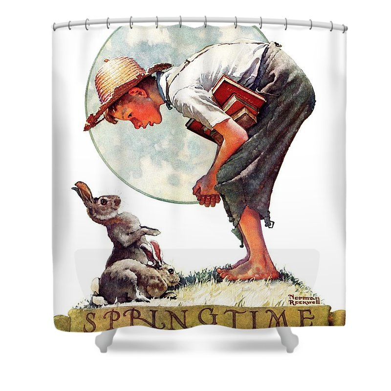 Books Shower Curtain featuring the drawing springtime, 1935 Boy With Bunny by Norman Rockwell