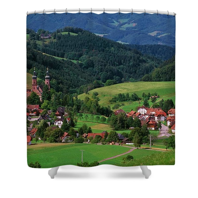 Architectural Feature Shower Curtain featuring the photograph St. Peters Abbey, Black Forest, Germany by Bilderbuch  / Design Pics