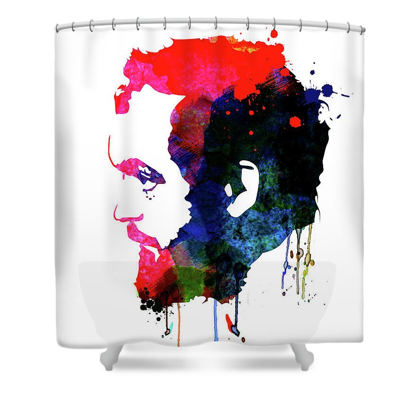 Movies Shower Curtain featuring the mixed media Stanley Watercolor by Naxart Studio