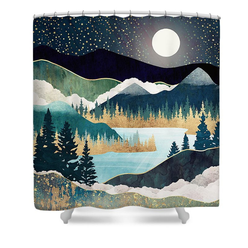 Stars Shower Curtain featuring the digital art Star Lake by Spacefrog Designs