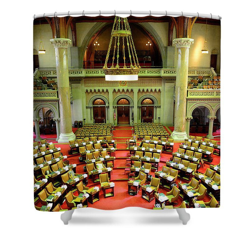 Arch Shower Curtain featuring the photograph State House Capitol Building, Albany by Dennis Macdonald