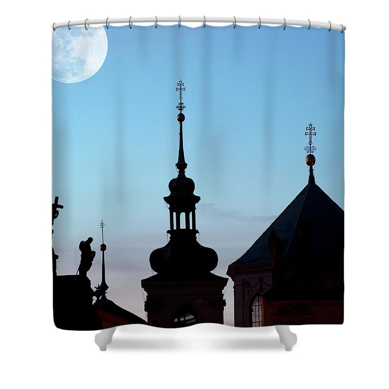 Statue Shower Curtain featuring the photograph Statues And Spires In Silhouette, Prague by Shanna Baker