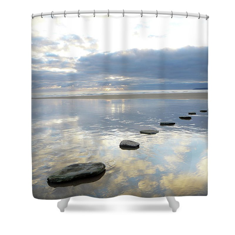 Tranquility Shower Curtain featuring the photograph Stepping Stones Over Water With Sky by Peter Cade