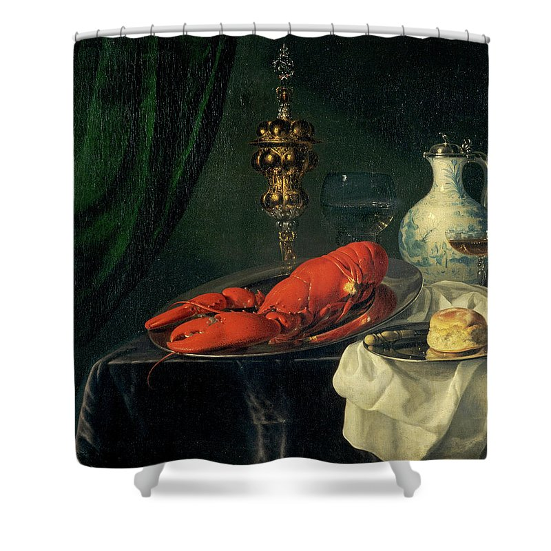 Simon Luttichuys Shower Curtain featuring the painting Still-life, 1650s by Simon Luttichuys