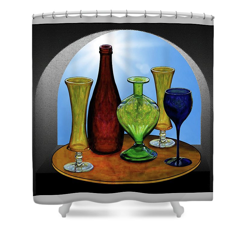 Still Life Shower Curtain featuring the painting Still Life with Bottles by Hugo Heikenwaelder