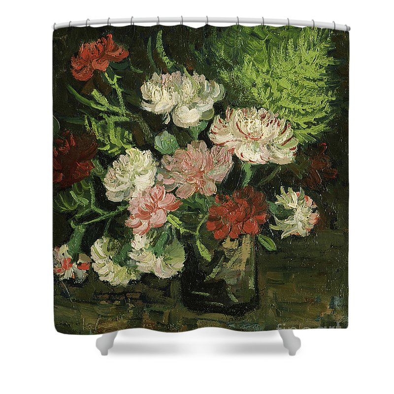 Vincent Van Gogh Shower Curtain featuring the painting Still Life With Carnations, 1886 by Vincent Van Gogh