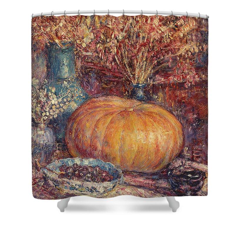 Still Life With Pumpkin Shower Curtain featuring the painting Still Life With Pumpkin by George Morren
