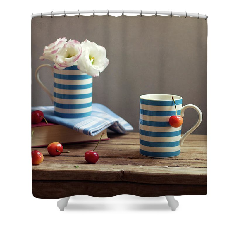 Cherry Shower Curtain featuring the photograph Still Life With Striped Cups by Copyright Anna Nemoy(xaomena)