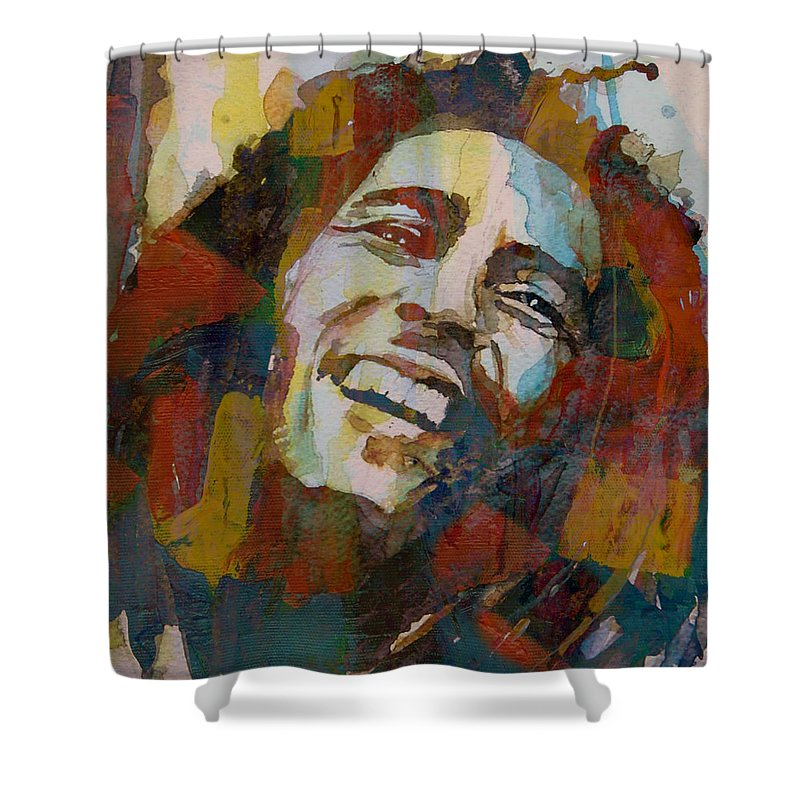 Bob Marley Shower Curtain featuring the painting Stir It Up - Retro - Bob Marley by Paul Lovering