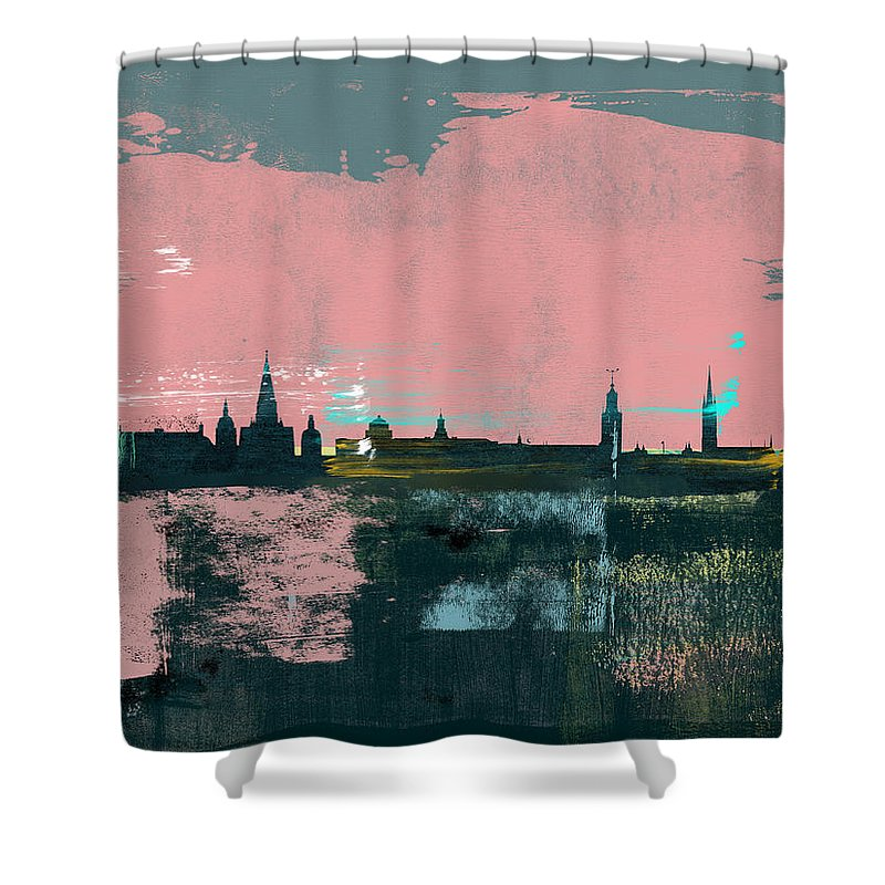 Stockholm Shower Curtain featuring the mixed media Stockholm Abstract Skyline II by Naxart Studio