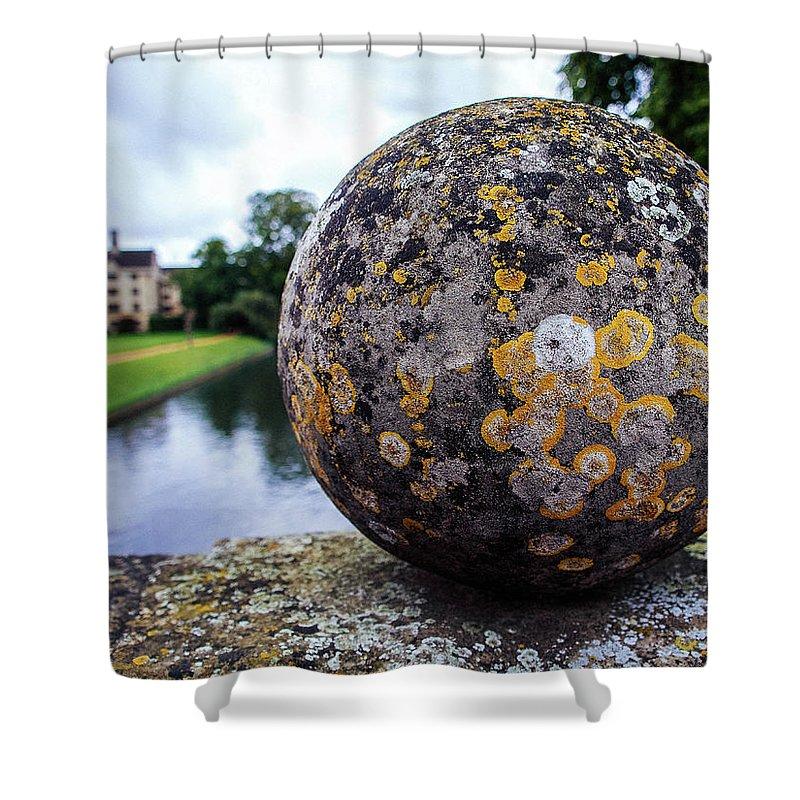 Stone Ball Pediment On Bridge Across River Cam In Cambridge Shower Curtain