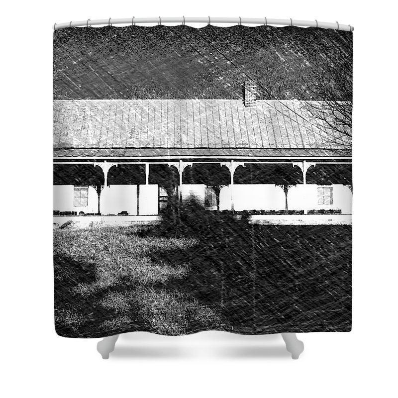 Buildings Shower Curtain featuring the photograph Stonecypher House by Dick Goodman