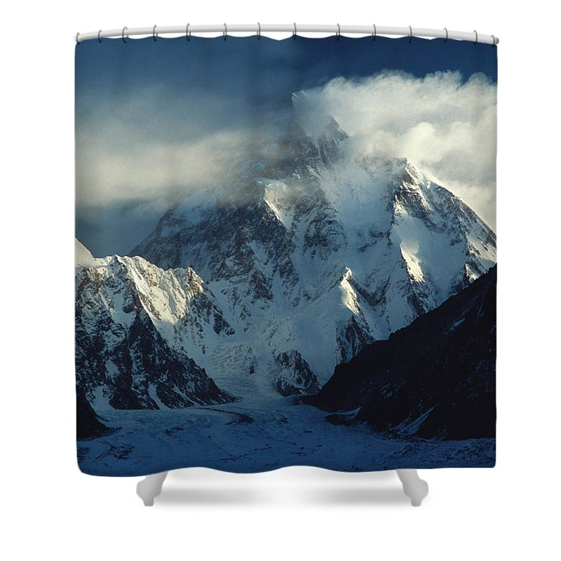 00260197 Shower Curtain featuring the photograph Storm Engulfing K2 by Colin Monteath