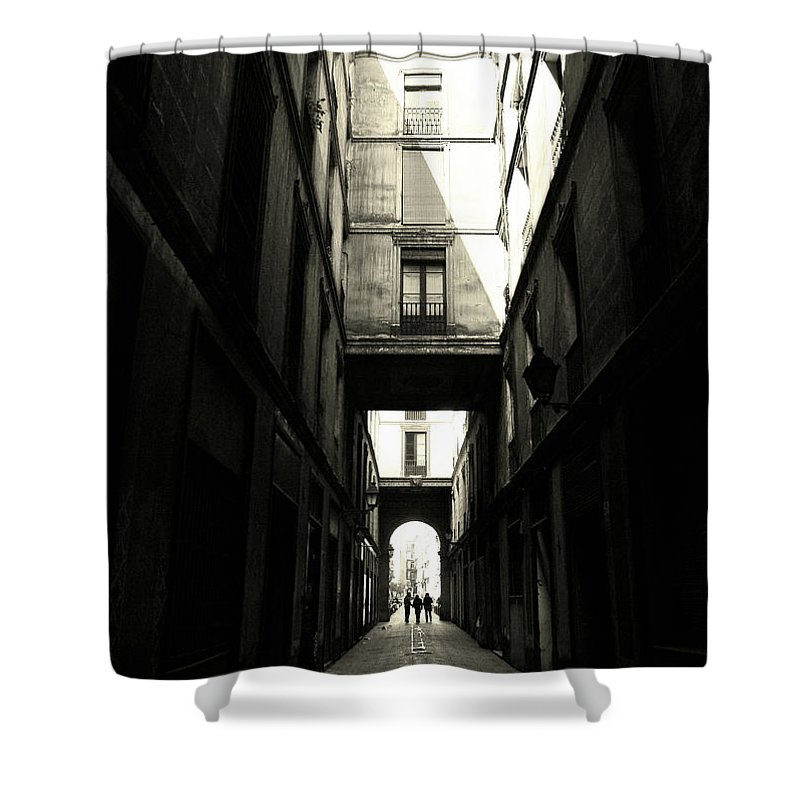 Arch Shower Curtain featuring the photograph Street In Barcelona by Maria Fernandez