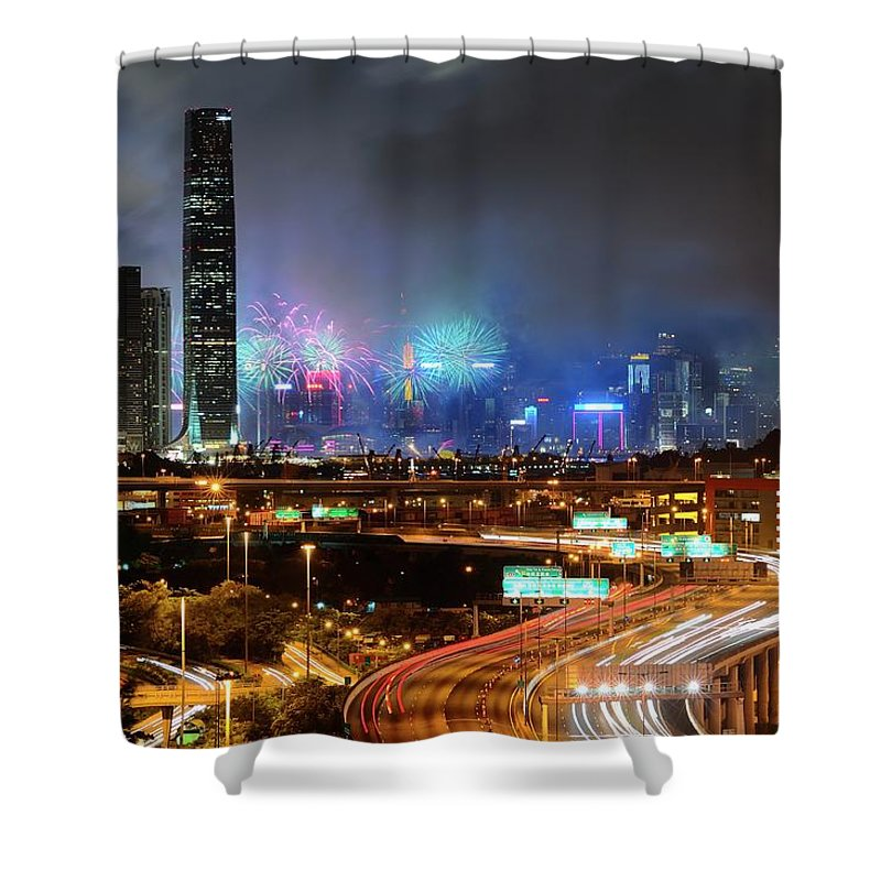 Firework Display Shower Curtain featuring the photograph Street Light Crosses Firework by Eddymtl