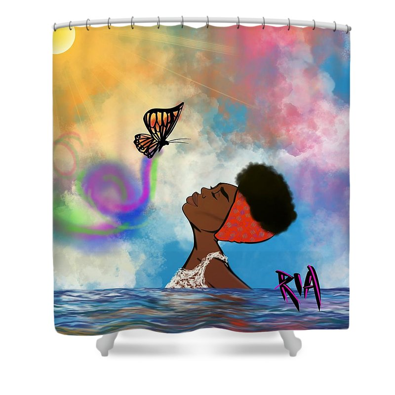 Baptism Shower Curtain featuring the painting Strip off the old personality by Artist RiA