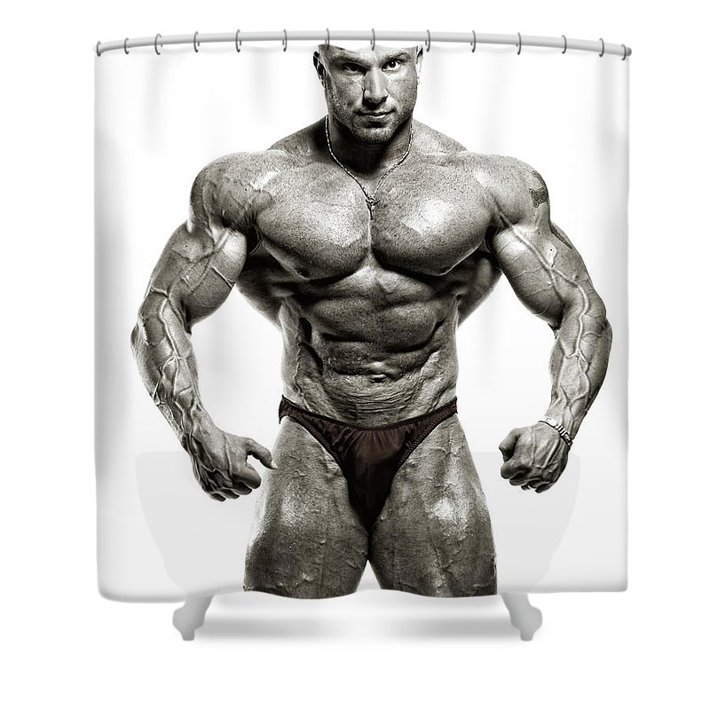 Abdominal Muscle Shower Curtain featuring the photograph Strong Male Model by Spanic