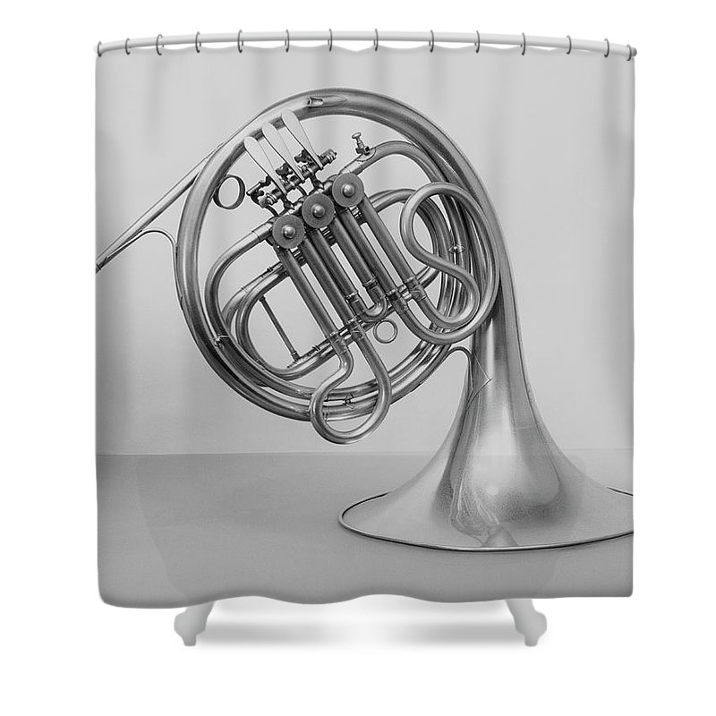 White Background Shower Curtain featuring the photograph Studio Shot Of French Horn by George Marks