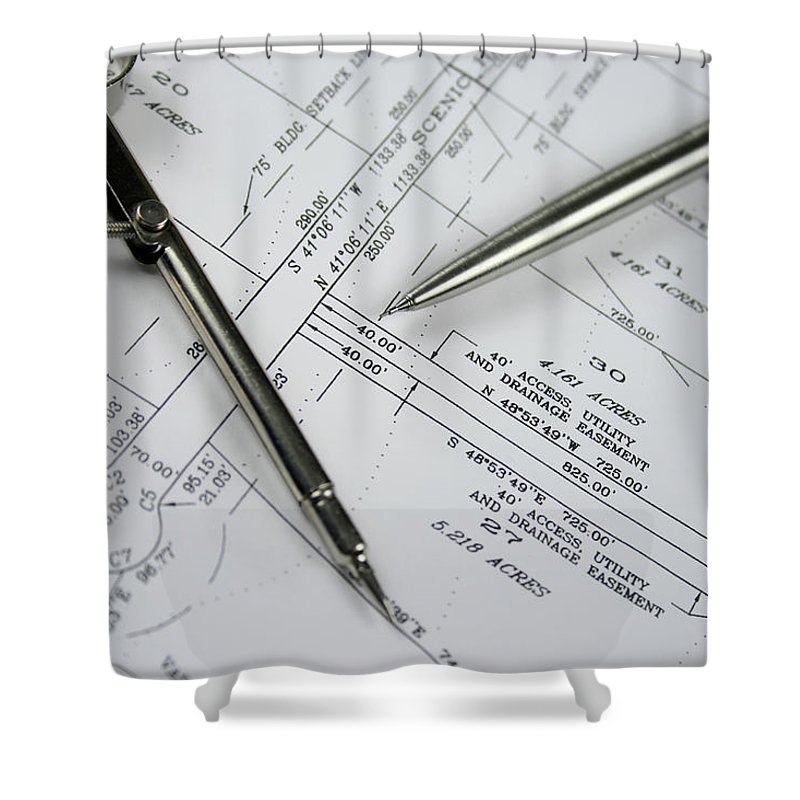 Plan Shower Curtain featuring the photograph Subdivision Development Planning by Lvsigns