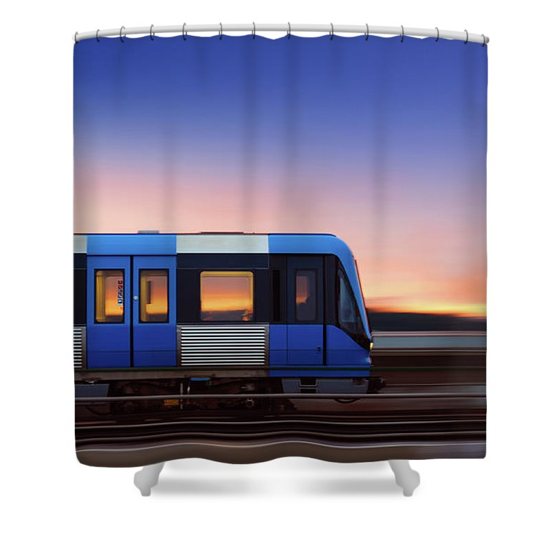 Train Shower Curtain featuring the photograph Subway Train In Profile Crossing Bridge by Olaser