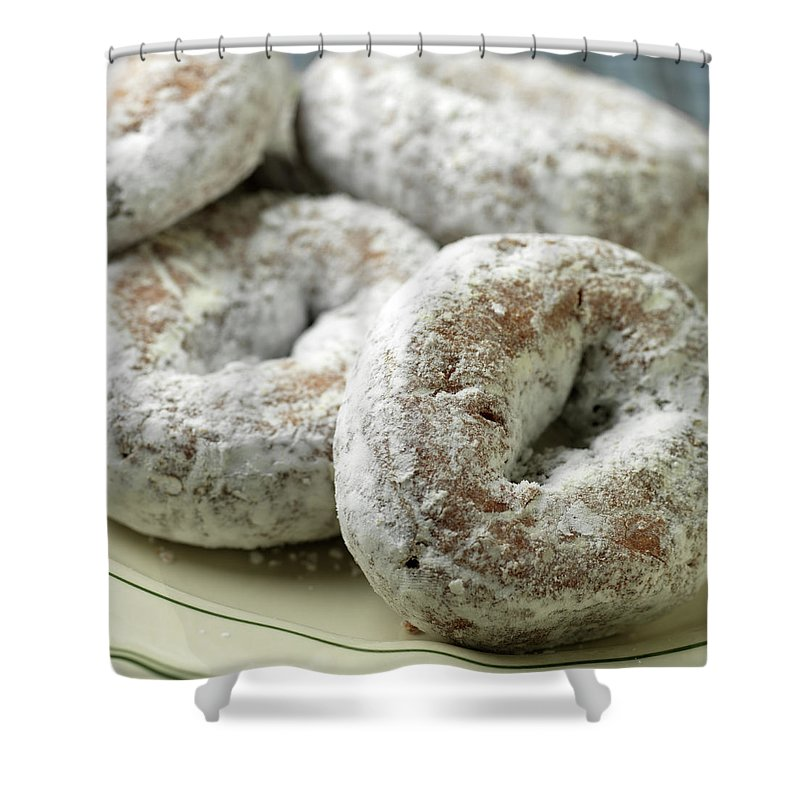 Unhealthy Eating Shower Curtain featuring the photograph Sugar Doughnuts by Brian Yarvin