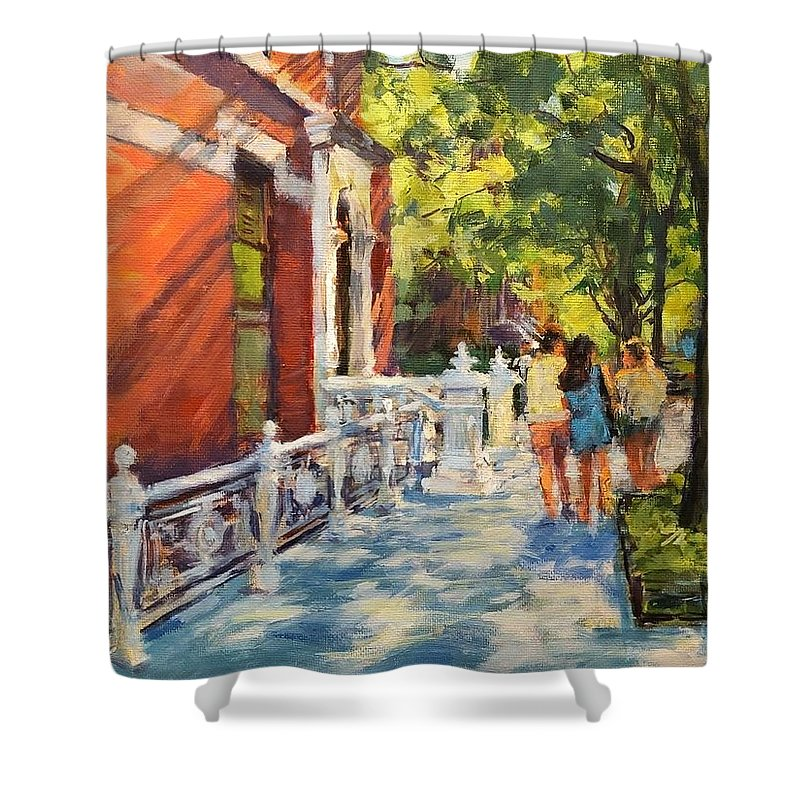 Shower Curtain featuring the painting Summer Morning On West 82nd by Peter Salwen