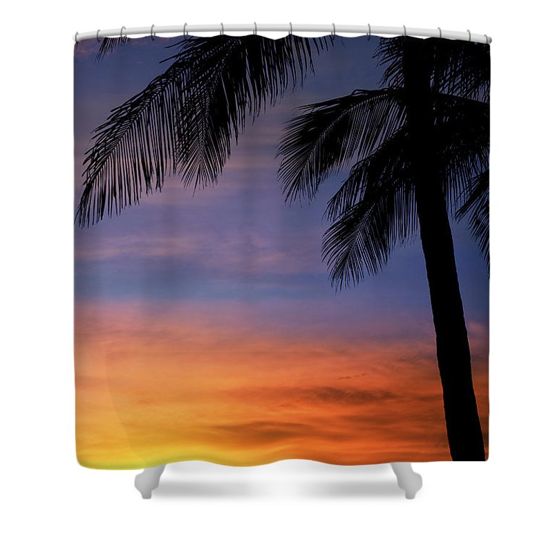 Palm Tree Shower Curtain featuring the photograph Summer Sky - Sunset Palm Trees by Laura Fasulo