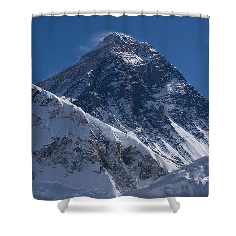 Scenics Shower Curtain featuring the photograph Summit Of Mt Everest8850m Great Details by Diamirstudio