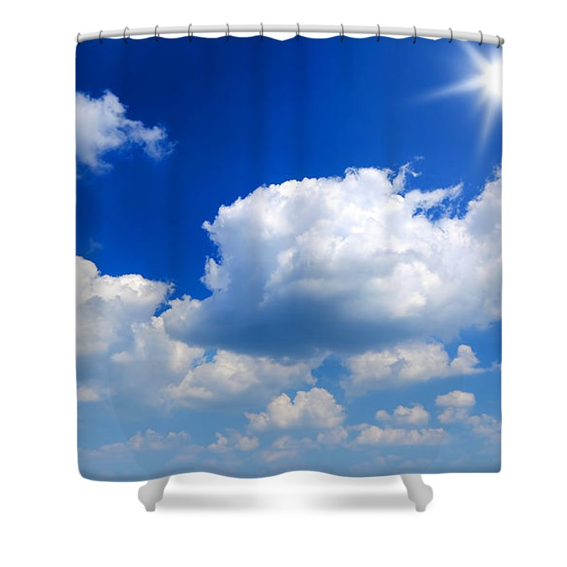 Scenics Shower Curtain featuring the photograph Sun And Clouds by Macroworld