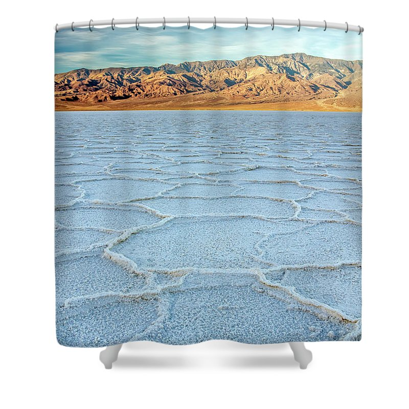 Scenics Shower Curtain featuring the photograph Sunrise At Badwater, Death Valley by Pierre Leclerc Photography
