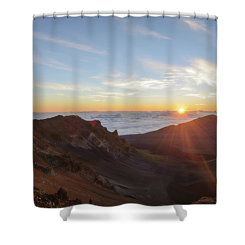 Scenics Shower Curtain featuring the photograph Sunrise At Haleakala by Photo By Robert Vaughn