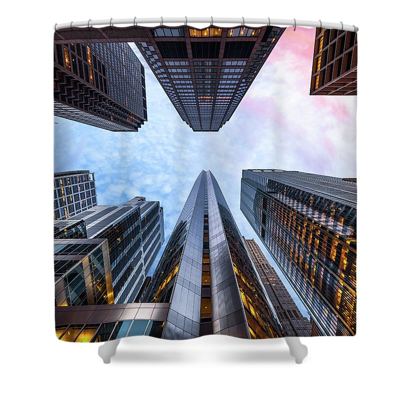 Directly Below Shower Curtain featuring the photograph Sunrise, Looking Up, Chicago, Illinois by Joe Daniel Price