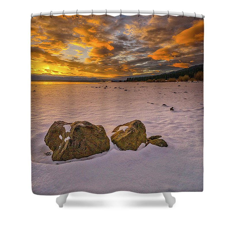 Snow Shower Curtain featuring the photograph Sunrise Rocks by Tom Gresham