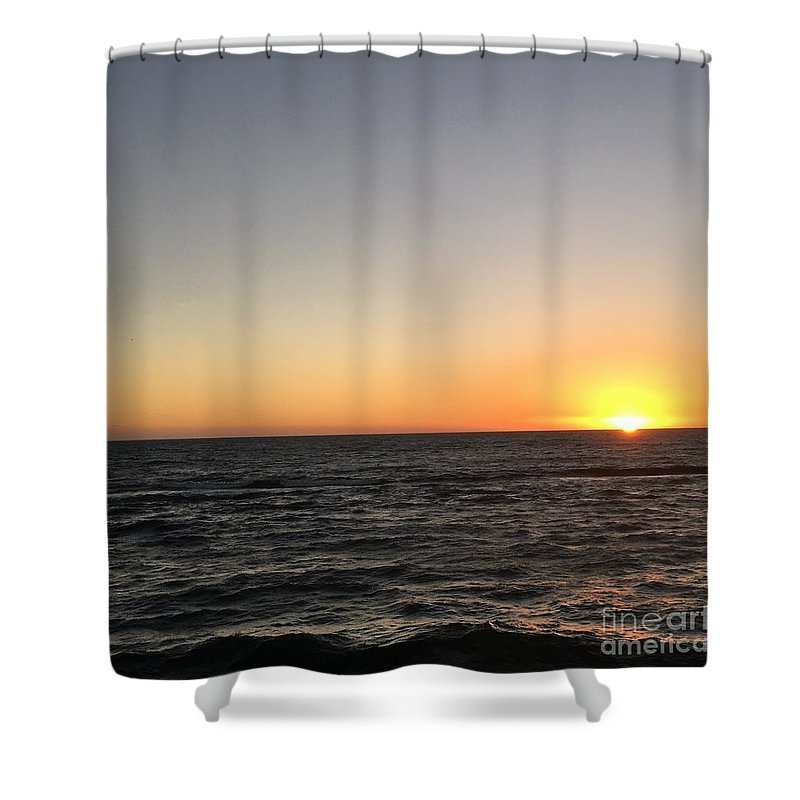 Sunset Shower Curtain featuring the photograph Sunset At The Sea by Epic Luis Art