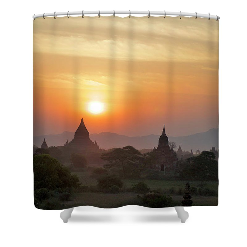 Tranquility Shower Curtain featuring the photograph Sunset From Atop The Shwesandaw Paya by Jim Simmen