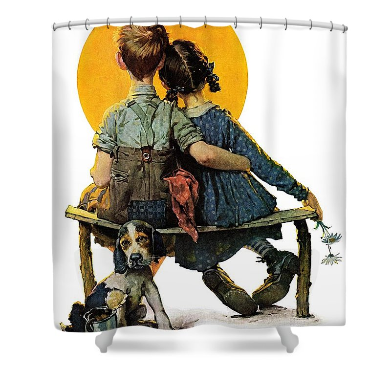 Benches Shower Curtain featuring the drawing Sunset by Norman Rockwell