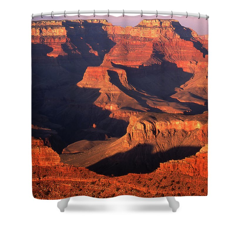 Toughness Shower Curtain featuring the photograph Sunset Over Grand Canyon by By Tiina Gill