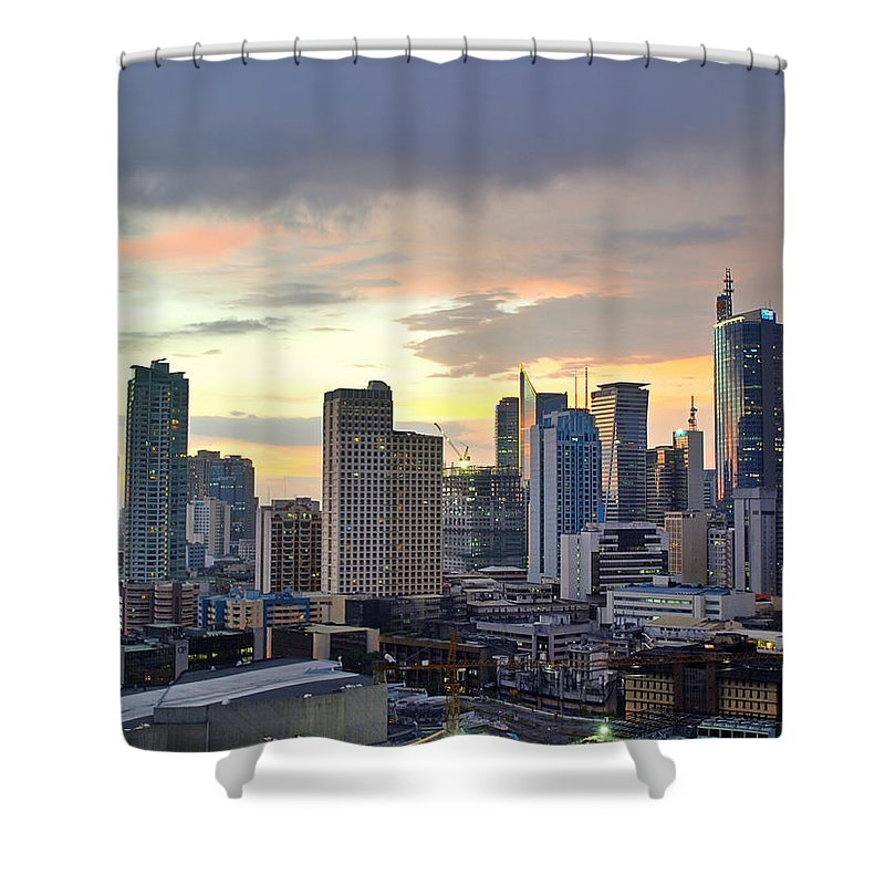 Outdoors Shower Curtain featuring the photograph Sunset Over Makati City, Manila by Neil Howard