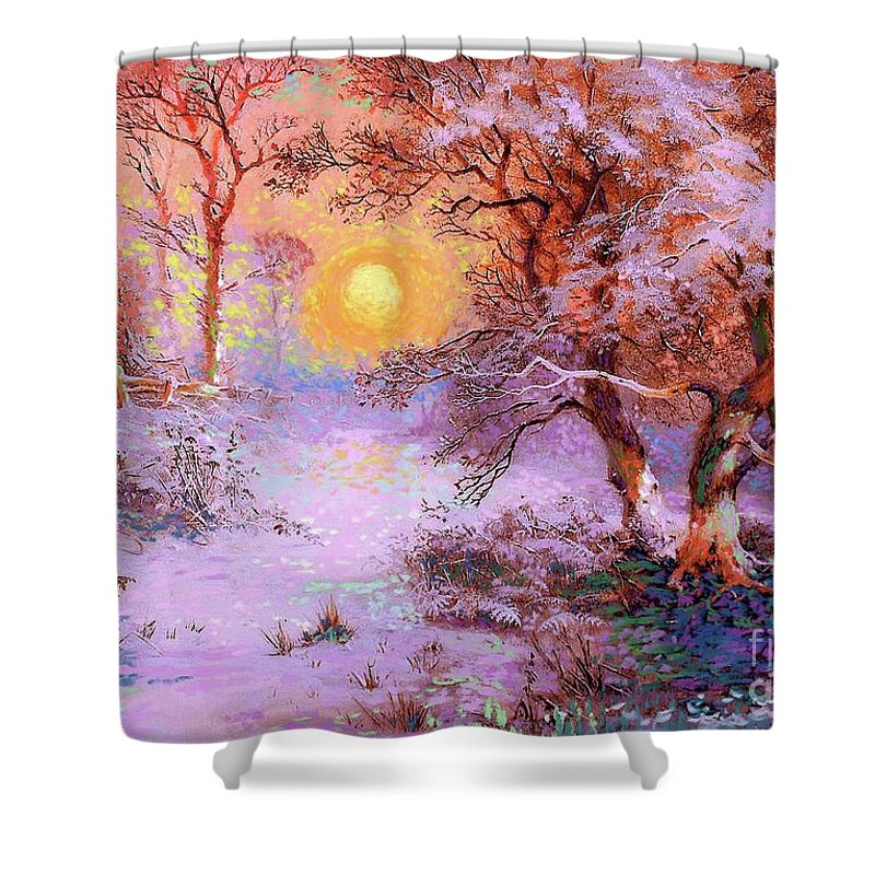 Sun Shower Curtain featuring the painting Sunset Snow by Jane Small