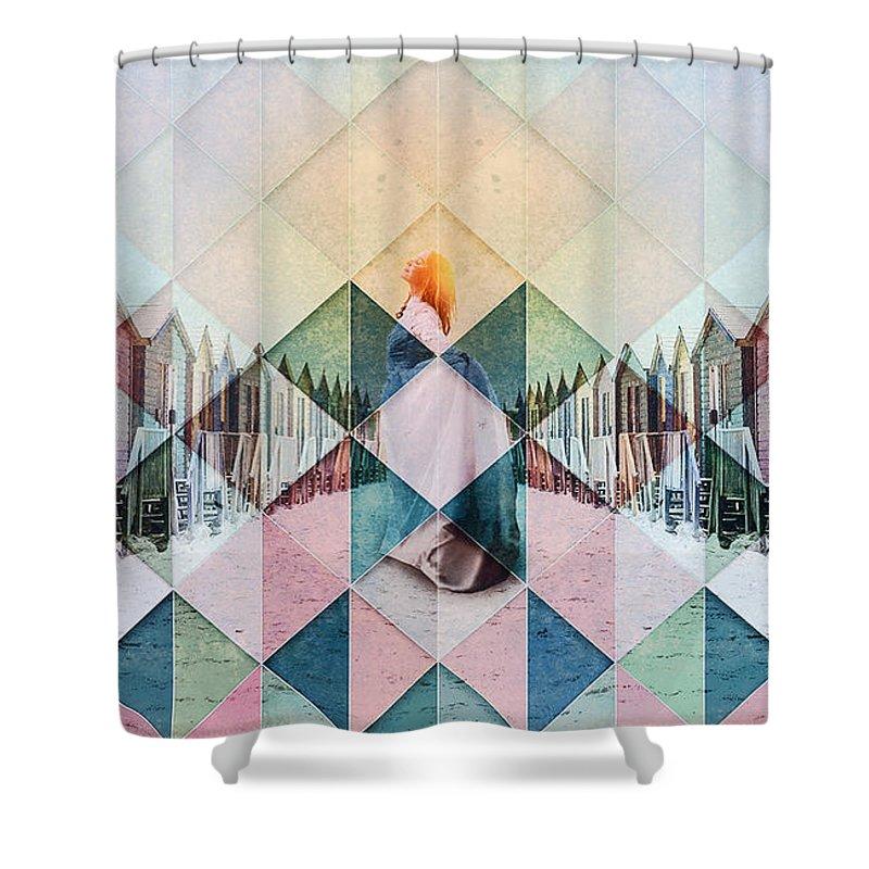 Beach Shower Curtain featuring the digital art Sunshine Makes Me Happy by Pamela Perkins