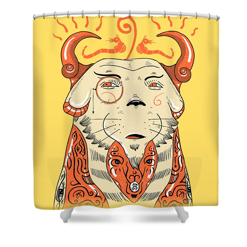 Pet Shower Curtain featuring the drawing Surreal Cat by Sotuland Art