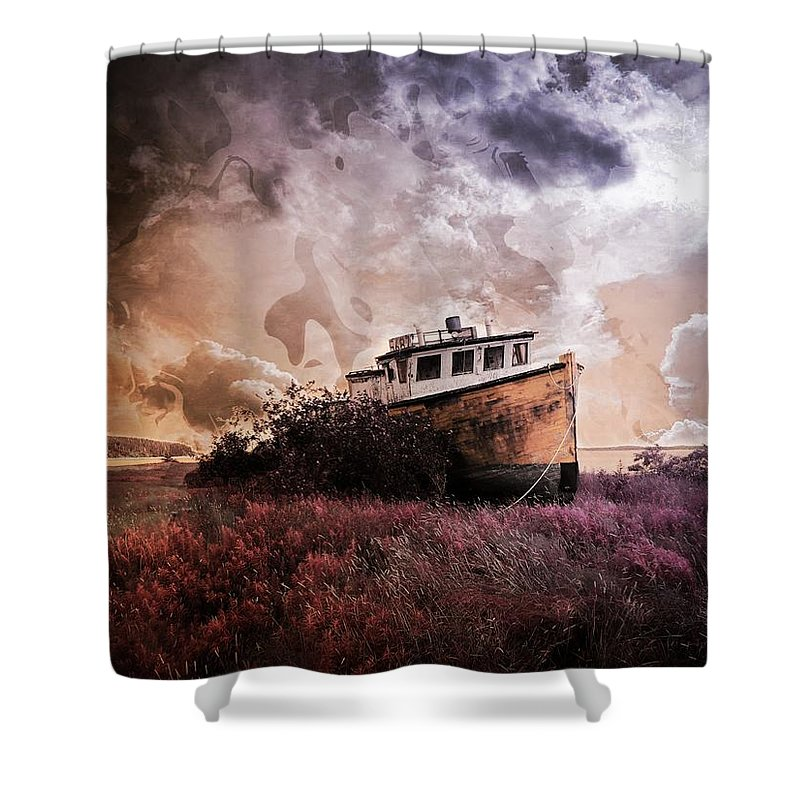 Boat Shower Curtain featuring the mixed media Surrounded By Opportunity by Aaron Berg