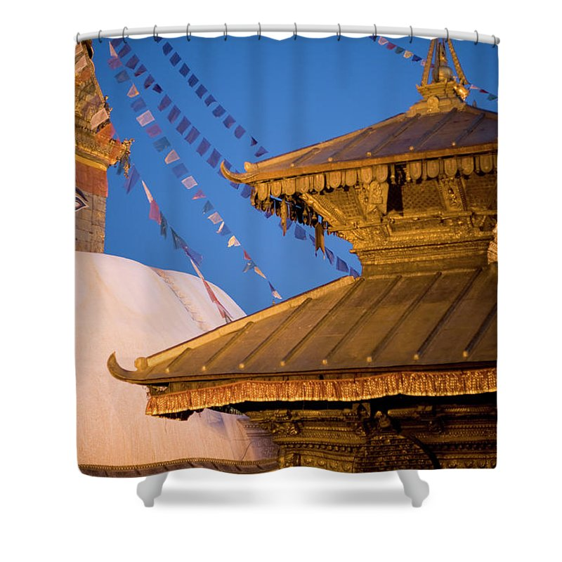 People Shower Curtain featuring the photograph Swambutayah - The Monkey Temple by Caval