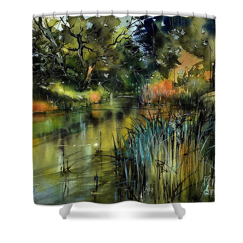 Wild Shower Curtain featuring the painting Sweet Flag In The Lake by Suzann Sines