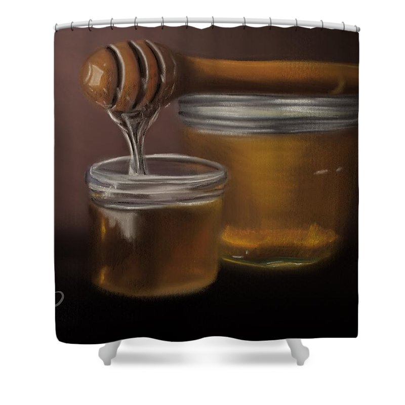 Shower Curtain featuring the painting Sweet Honey by Fe Jones