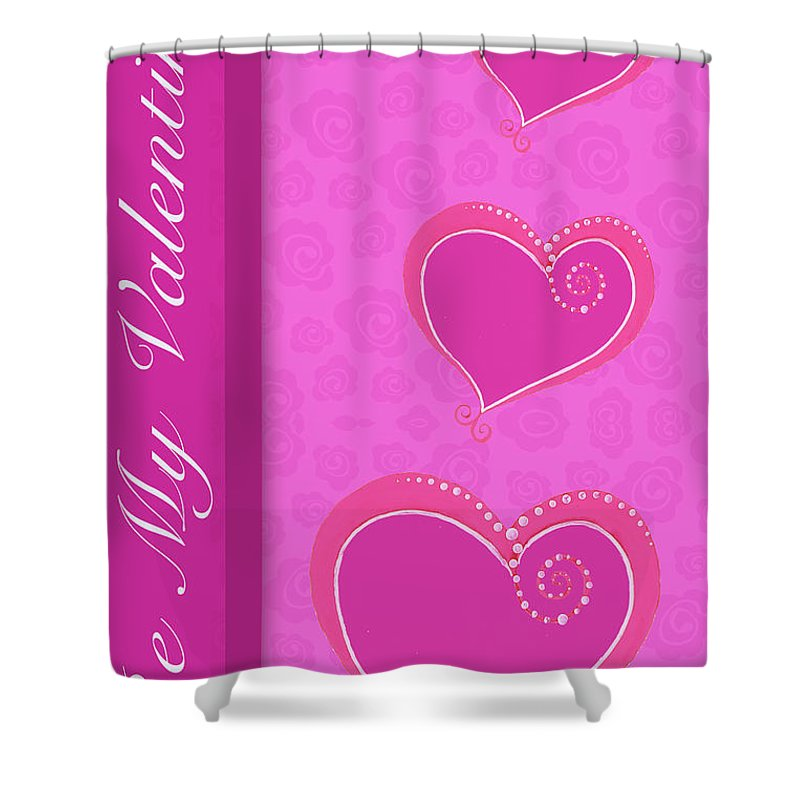 Sweet Shower Curtain featuring the mixed media Sweet Pink Valentines IIi by Andi Metz
