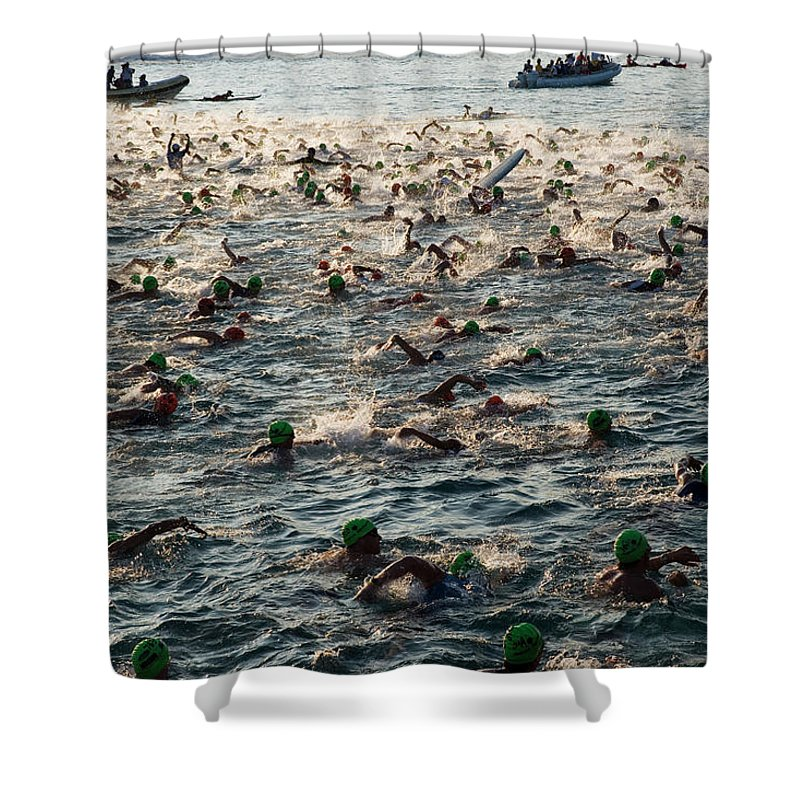 Seascape Shower Curtain featuring the photograph Swim Start Of Triathlon In Kailua Bay by Alvis Upitis
